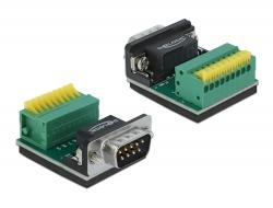 Delock Adaptér Sub-D 9 pin zástrčkový konektor na svorkovnici s tlačítkem