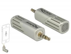 Delock Kondenzátorový mikrofon jednosměrný pro Smartphon / Tablet 3,5 mm 4 Pin Stereo Jack 90° sklopný stříbrný