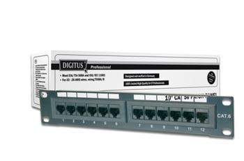 "Digitus CAT 5e patch panel, nestíněný, 12 portů RJ45 8P8C, LSA, 1U, 254 mm (10 ""), bl, 482x44x109 mm"