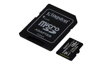 KINGSTON 128GB microSDHC CANVAS Plus Memory Card 100MB/85MBs- UHS-I class 10 Gen 3