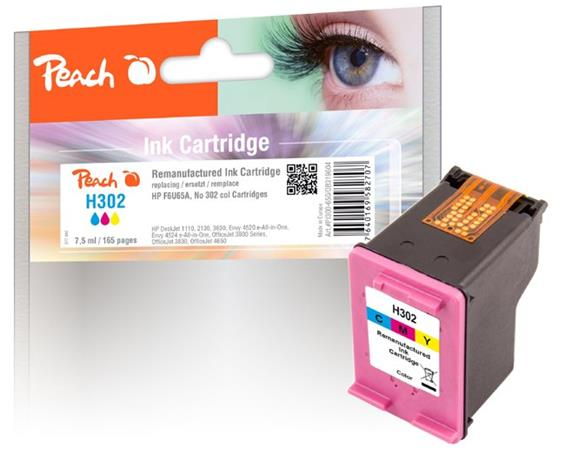 PEACH kompatibilní cartridge HP F6U65A, No 302, color, 7.5ml