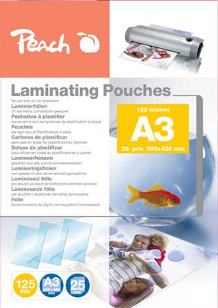 PEACH laminovací folie A3 (303x426mm), 125mic, lesklé, 25ks