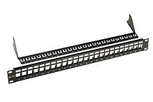 """Solarix 19"""" Neosazený univerzální panel Solarix 24 portů 1U pro CAT5E a CAT6 keystony Solarix"""